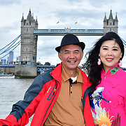 "See Li and Chinese Soprano 王蓓蓓,Wang Beibei sings 我和我的祖国,Me and my country to celebration of the 70th China National Day 2019 and a Chinese ""Qipao"" flash mob, London, 28 September 2019, UK."