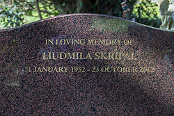 © Licensed to London News Pictures. 07/03/2018. Salisbury, UK. The grave of Liudmila Skripal wife of former Russian spy Sergei Skripal who has become ill, along with his daughter Yulia, with suspected poisoning in Salisbury, England. The couple where found unconscious on bench in Salisbury shopping centre. Specialist units have been called in to deal with any possible contamination. Photo credit: Peter Macdiarmid/LNP