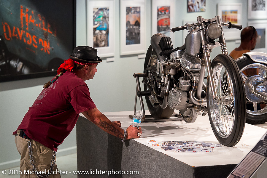 """""""Z"""" in the Naked Truth exhibition at the Buffalo Chip gallery during the 75th Annual Sturgis Black Hills Motorcycle Rally.  SD, USA.  August 5, 2015.  Photography ©2015 Michael Lichter."""