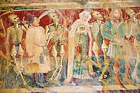 Croatie, Istrie, côte adriatique, Beram, chapelle et eglise Sainte Marie ou Sveti Marija, fresque, danse macabre // Croatia, Adriatic coast, Istria, Beram, frescoes of the church of St Mary, danse macabre