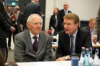 DEU, Deutschland, Germany, Berlin, 13.12.2011:<br />Bundesfinanzminister Wolfgang Schäuble (CDU) im Gespräch mit Kanzleramtsminister Ronald Pofalla (CDU) vor Beginn der CDU/CSU-Fraktionssitzung im Deutschen Bundestag.