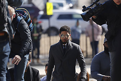 Jussie Smollett enters the Leighton Criminal Court Building Tuesday March 12, 2019 for a hearing on whether cameras will be allowed in the courtroom on the criminal charges he faces. Photo by Jose M. Osorio/Chicago Tribune/TNS/ABACAPRESS.COM