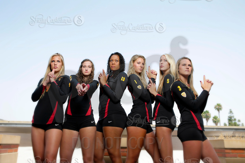 10 August 2010:  Freshman teammates  on the Pac-10 NCAA College Women's Volleyball team for the USC Trojans Women of Troy photographed at the Galen Center on Campus in Southern California.  Sam Hirschmann, Sara Shaw, Falyn Fonoimoana, Alexis Olgard, Kirby Burnham, Natalie Hagglund. .Images are for Personal use only.  No Model Release, No Property Release, No Commercial 3rd Party use. .Photo Credit should read: ©2010ShellyCastellano.com