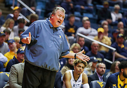 Nov 24, 2018; Morgantown, WV, USA; West Virginia Mountaineers head coach Bob Huggins argues a call from the bench during the first half against the Valparaiso Crusaders at WVU Coliseum. Mandatory Credit: Ben Queen-USA TODAY Sports