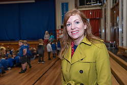 Spokes Porty, the local Spokes group in Portobello, organised a Safe Routes to School event this morning for primary school children in Portobello, Edinburgh. They were joined on the school run by local MSP, Ash Denham, local councillors Mary Campbell and Maureen Child and Strider, the Living Streets Scotland mascot. The 'walking bus' made its way from Portobello High Street vis St Johns Primary School to finish at Duddingston Primary School where participants could get some breakfast! The event is part of a weekend of local activities organised by the cycling campaign group Pedal on Parliament instead of their annual mass cycle ride to the Scottish Parliament, focussing on local issues across Scotland. Pictured: Ash Denham, local MSP.<br /> <br /> <br /> © Jon Davey/ EEm