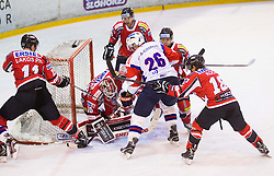 Phillippe Lakos and Rene Swette of Austria vs JAN URBAS of Slovenia during Friendly Ice-hockey match between National teams of Slovenia and Austria on April 19, 2013 in Ice Arena Tabor, Maribor, Slovenia. (Photo By Vid Ponikvar / Sportida)