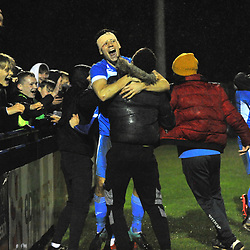 TELFORD COPYRIGHT MIKE SHERIDAN Leiston players and supporters celebrate after knocking the Bucks out of the FA Cup during the FA Cup 3Q fixture between AFC Telford United and Leiston at the LTAA Ground, Leiston on Tuesday, October 13, 2020.<br /> <br /> Picture credit: Mike Sheridan/Ultrapress<br /> <br /> MS202021-033