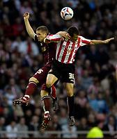 Photo: Jed Wee/Sportsbeat Images.<br /> Sunderland v Burnely. Coca Cola Championship. 27/04/2007.<br /> <br /> Sunderland's Liam Miller (R) jumps with Burnley's Joey Gudjonsson.