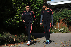 13 September 2017 -  UEFA Europa League (Group H) - Arsenal Training - Hector Bellerin and Mohamed Elneny of Arsenal - Photo: Marc Atkins/Offside