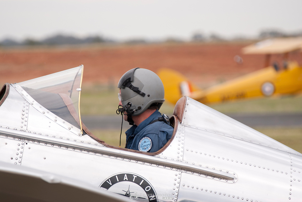 A Ryan STM S2 of the Temora Aviation Museum on display on a rainy day