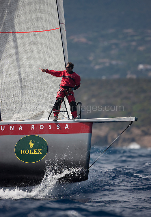 """9th September 2009. Rolex Maxi Worlds 2009.Costa Smeralda YC. Sardinia. Italy..Picture shows """"Luna Rossa""""  (ITA 4599)  the STP65 In action during heavy seas and strong winds on the second days racing..Please credit all pictures: Mark Lloyd/Lloyd Images"""
