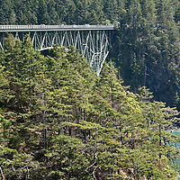 Deception Pass, where two bridges connect Whidbey Island to the mianland.  The pass is known for the raging currents that tear through the formation. Photo by William Byrne Drumm, June 14, 2010.