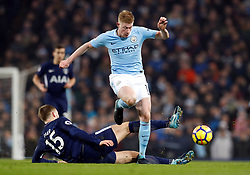 Tottenham Hotspur's Eric Dier (left) and Manchester City's Kevin De Bruyne battle for the ball during the Premier League match at the Etihad Stadium, Manchester.