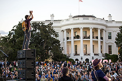 October 3, 2016 - Washington, DC, United States of America - Wesley Schultz of the ban Lumineers stands on a speaker stack as they perform during the South by South Lawn festival on the South Lawn of the White House October 3, 2016 in Washington, DC. The event is inspired by the South by Southwest festival and includes arts, film, entertainment and technology. (Credit Image: © Pete Souza/Planet Pix via ZUMA Wire)