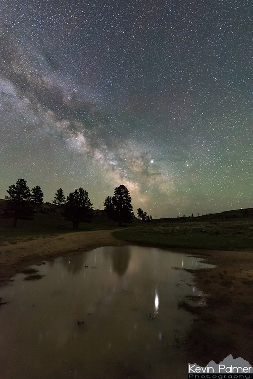 After a rainy week, there were puddles left over at the Outlaw Cave Campground. I kept waiting for the wind to calm down, but eventually I had to settle for capturing a smeared reflection of Jupiter and the milky way.