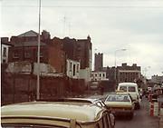 Old amateur photos of Dublin streets churches, cars, lanes, roads, shops schools, hospitals College Stores Johns Rd Bridgsfort St. Bridges Queen St Butchers Bike April 1984