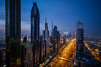 UNITED ARAB EMIRATES, DUBAI - CIRCA JANUARY 2017: Sheikh Zayed Road at night in Dubai. This is the main artery of the city and is home for most of the Dubai skyscrapers.