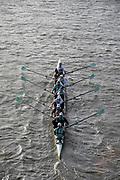 Putney, London, Varsity, 5th April 2019, CUBC Blue Boat pass through Hammersmith Bridge, Oxford/Cambridge Media week, Championship Course,<br /> [Mandatory Credit: Karon PHILLIPS], Friday  05/04/2019,