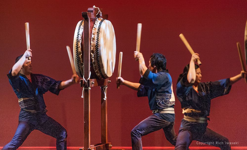 """Members of Portland Taiko perform at Portland Taiko concert """"Three: 3 conversations with Taiko"""", Winningstad Theatre, Portland Center for the Performing Arts, Portland, Oregon."""