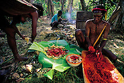 Amuloke Walelo and her husband prepare the day's vegetables with the blood-red juice of the buah merah fruit, Soroba, Baliem Valley, Irian Jaya, Indonesia. (Man Eating Bugs page 82,83)