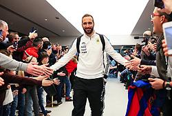 Gonzalo Higuain of Argentina greets fans on arrival at the Etihad Stadium - Mandatory by-line: Matt McNulty/JMP - 23/03/2018 - FOOTBALL - Etihad Stadium - Manchester, England - Argentina v Italy - International Friendly