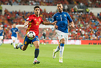 Spain's Marco Asensio and Italy's Leonardo Spinazzola during match between Spain and Italy to clasification to World Cup 2018 at Santiago Bernabeu Stadium in Madrid, Spain September 02, 2017. (ALTERPHOTOS/Borja B.Hojas)