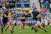 Warwick School won 27 -5. The Natwest Schools Cup Final between Bishops Wordsworth's Grammar School (Dark Blue) and Warwick School (Blue and white hoops) at Twickenham Stadium. London 29 March 2017. Warwick School won 27 -5. The Natwest Schools Cup Final between Bishops Wordsworth's Grammar School (Dark Blue) and Warwick School (Blue and white hoops) at Twickenham Stadium. London 29 March 2017.