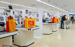 © Licensed to London News Pictures. 05/05/2020. London, UK. Partitions are installed in-between checkouts at Sainsbury's supermarket in north London to maintain the 2m distance rule to avoid the spread of COVID-19.  Photo credit: Dinendra Haria/LNP