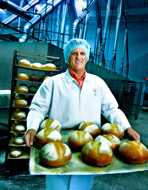 Portrait of the owner of Euro-Bake, a bread bakery specializing in German breads shipped all over the world.  Photographed for the Maddux Business Report.