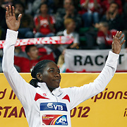 Brittney Reese of the U.S. celebrates her gold medal during the IAAF World Indoor Championships at the Atakoy Athletics Arena, Istanbul, Turkey. Photo by TURKPIX