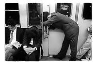 Tokyo subway at rush hour. Japan - 1987