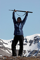 Girl posing with clothes from Bergans  and a mauser rifle (for protection against Polar Bears)
