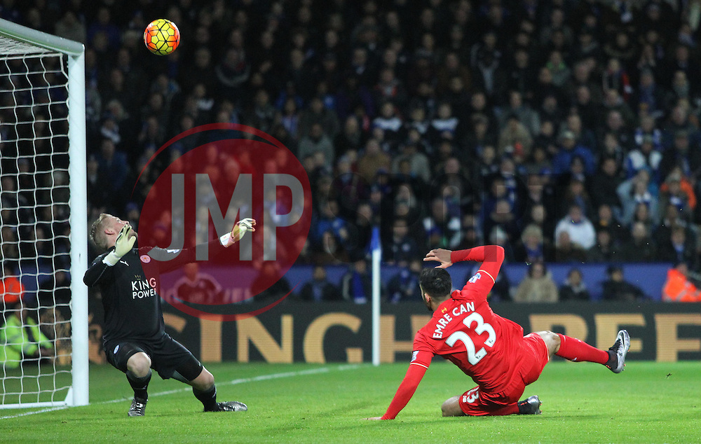 Kasper Schmeichel of Leicester City (L) saves from Emre Can of Liverpool  - Mandatory byline: Jack Phillips/JMP - 02/02/2016 - FOOTBALL - King Power Stadium - Leicester, England - Leicester City v Liverpool - Barclays Premier League