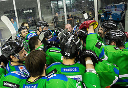 Players of Olimpija celebrate after they became Slovenian National Champion 2016 after winning during ice hockey match between HDD Telemach Olimpija and HDD SIJ Acroni Jesenice in Final of Slovenian League 2015/16, on April 11, 2016 in Hala Tivoli, Ljubljana, Slovenia. Photo by Vid Ponikvar / Sportida