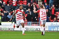 Mallik Wilks of Doncaster Rovers (7) scores a goal and celebrates to make the score 2-2 during the EFL Sky Bet League 1 match between Doncaster Rovers and Gillingham at the Keepmoat Stadium, Doncaster, England on 20 October 2018.