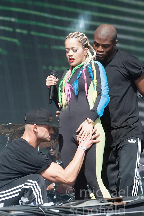 Rita Ora on the MainStage <br /> Sunday at Glasgow Green, BBC Radio 1's Big Weekend Glasgow 2014.