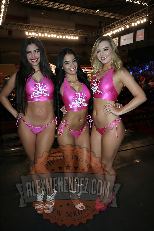"""The Capristan ring girls pose for a photo prior to the Orlando """"El Fenomeno""""  Cruz versus Gabino """"Flash"""" Cota  Boxeo Telemundo WBO/NABO Super Featherweight bout on Friday, October 9, 2015 at the Kissimmee Civic Center in Kissimmee, Florida. Cruz, who is from Puerto Rico, is the first ever openly gay boxer  in the history of the sport and won the bout. (Alex Menendez via AP)"""
