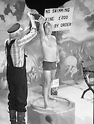 Someone gets a cold bath as part of the John Player Tops of the Town Final at Gaiety Theatre, 1st June 1980.<br /> Irish Distillers Variety Group emerge as the winner as they beat Waterford Banks and Finance by two marks.