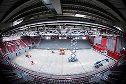 Reconstruction of Sports hall Podmezakla for Eurobasket 2013 on July 25, 2013 in Jesenice, Slovenia. (Photo by Vid Ponikvar / Sportida.com)