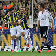 Fenerbahce's celebrates his goal Gokhan Gonul, Mehmet Topul (L-R) during their Turkish Superleague soccer derby match Fenerbahce between Besiktas at Sukru Saracaoglu stadium in Istanbul Turkey on Sunday 07 October 2012. Photo by TURKPIX