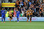 Hull's Curtis Davies ® celebrates after he scores the 1st goal. . Barclays Premier league match, Hull city v Cardiff city at the KC Stadium in Hull on Sat 14th Sept 2013. pic by Andrew Orchard, Andrew Orchard sports photography,