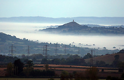 © Licensed to London News Pictures. 12/10/2014. Somerset, UK Glastonbury Tor surrounded by mist in Somerset this morning 12th October 2014. Photo credit : Jason Bryant/LNP