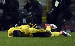 March 27, 2018 - Brussels, BELGIUM - Belgium's Romelu Lukaku lays down injured during a friendly game between the Red Devils Belgian National soccer team and Saudi Arabia, in Brussels, Tuesday 27 March 2018. BELGA PHOTO DIRK WAEM (Credit Image: © Dirk Waem/Belga via ZUMA Press)