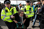 Police read section 14 notices and arrest protesters during Extinction Rebellion disruption outside City Airport on 10th October 2019 in London, England, United Kingdom. The protest is against the climate and pollution impact of the government's plans for airport expansion which will potentially double the amount of flights coming from City Airport. Extinction Rebellion is a climate change group started in 2018 and has gained a huge following of people committed to peaceful protests. These protests are highlighting that the government is not doing enough to avoid catastrophic climate change and to demand the government take radical action to save the planet.