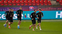 PRAGUE, CZECH REPUBLIC - Thursday, October 7, 2021: Czech Republic's Tomáš Souček (L) and his West Ham United team-mate Alex Král (R) during a training session ahead of the FIFA World Cup Qatar 2022 Qualifying Group E match between Czech Republic and Wales at the Sinobo Stadium. (Pic by David Rawcliffe/Propaganda)