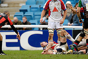"""Twickenham, GREAT BRITAIN, Bristol's, Matt SALTER, holds his wrist after, injuring his shoulder in  the tackle, during the Guinness Premieship match, NEC Harlequins vs Bristol Rugby, at the Twickenham Stoop Stadium, England, on Sat 24.02.2007 [""""Photo, Peter Spurrier/Intersport-images""""]"""
