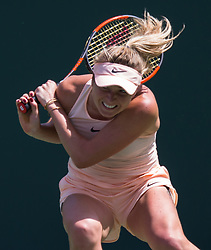 March 28, 2018 - Key Biscayne, Florida, United States - Elina Svetolina, from Ukraine, in action against Jelena Ostapenko, from Latvia, during her quater final match at the Miami Open. Ostapenko defeated Svitolina 7-6(3), 7-6(5) in Miami, on March 28, 2018. (Credit Image: © Manuel Mazzanti/NurPhoto via ZUMA Press)