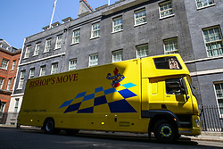 © Licensed to London News Pictures. 25/07/2019. London, UK. A removal van is parked outside No 10 Downing Street to collect Theresa May's belongings. Photo credit: Dinendra Haria/LNP
