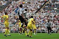 Photo: Andrew Unwin.<br /> Newcastle United v Villarreal. Pre Season Friendly. 05/08/2006.<br /> Newcastle's Shola Amoebi (C) scores his team's first goal.