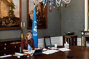DEN HAAG, 21-01-2021, Paleis Huis ten Bosh <br /> <br /> Koningin Maxima spreekt met de Senegalesee minister voor Microfinanciering en Sociale en Solidaire Economie, Zahra Iyane Thiam  tijdens een virtueel bezoek aan Senegal als speciale pleitbezorger van de secretaris-generaal van de Verenigde Naties voor inclusieve financiering voor ontwikkeling (UNSGSA). <br /> <br /> Queen Maxima speaks with Senegal's Minister for Digital Economy and Telecommunications, Yankhoba Diatara during a virtual visit to Senegal as the United Nations Secretary-General's Special Advocate for Inclusive Finance for Development (UNSGSA).